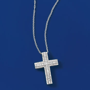 1.00 ct. t.w. Cross Pendant Necklace in 14kt White Gold, , default
