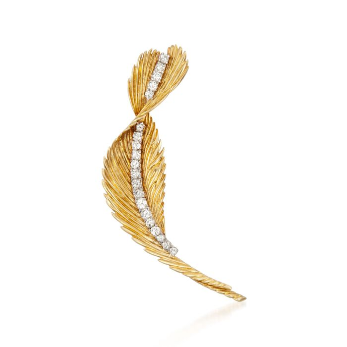 C. 1980 Vintage J.E. Caldwell 1.75 ct. t.w. Diamond Feather Pin in 14kt Yellow Gold , , default