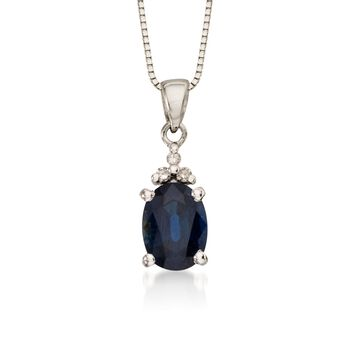 """.85 Carat Sapphire Pendant With Diamonds in 14kt White Gold. 18"""", , default"""