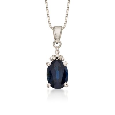 .85 Carat Sapphire Pendant Necklace with Diamonds in 14kt White Gold    , , default
