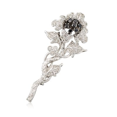 C. 2000 Vintage 1.80 ct. t.w. Black and White Diamond Floral Pin in 18kt White Gold