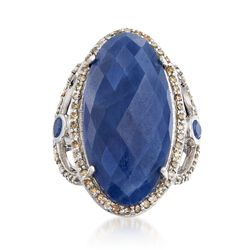 16.10 ct. t.w. Sapphire and .70 ct. t.w. Champagne Diamond Ring in Sterling Silver, , default