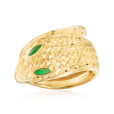 Italian 14kt Yellow Gold Serpent Bypass Ring with Green Enamel