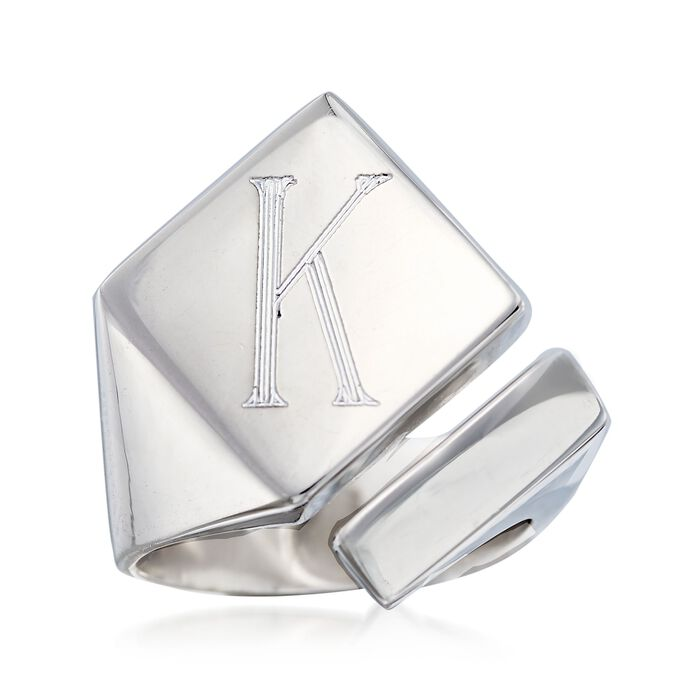 Italian Sterling Silver Single Initial Square-Top Ring, , default