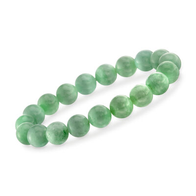 10mm Green Jade Bead Stretch Bracelet, , default