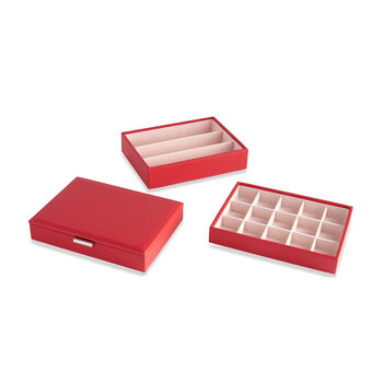 """Mele & Co. """"Allie"""" Red Faux Leather Stacking Jewelry Box, , default"""