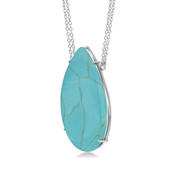 "Pear-Shaped Simulated Turquoise Necklace in Sterling Silver. 18"", , default"