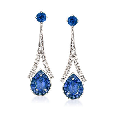3.70 ct. t.w. Sapphire and .36 ct. t.w. Diamond Drop Earrings in 14kt White Gold, , default
