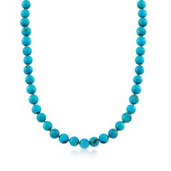 "8mm Turquoise Bead Necklace With 14kt Yellow Gold. 16"", , default"