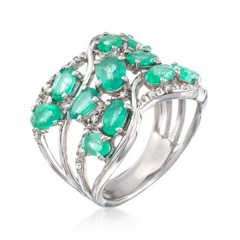 1.80 ct. t.w. Emerald and .12 ct. t.w. Diamond Openwork Ring in Sterling Silver, , default