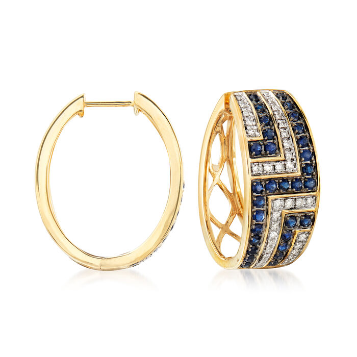 1.10 ct. t.w. Sapphire and .33 ct. t.w. Diamond Hoop Earrings in 14kt Yellow Gold