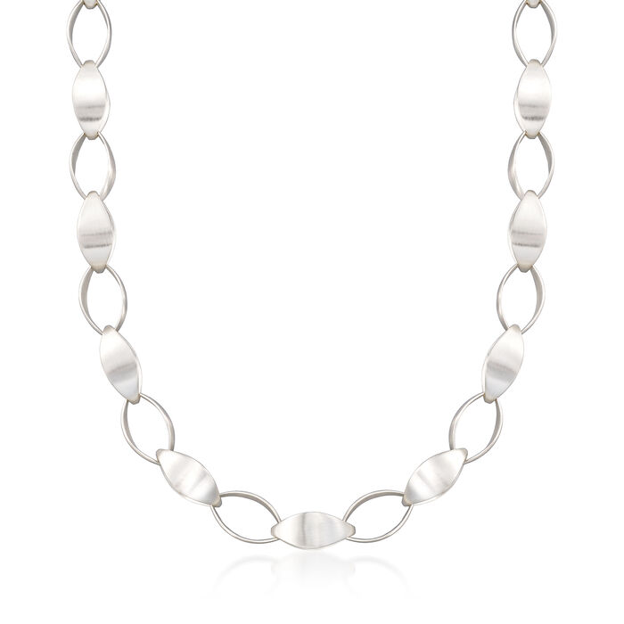 "Zina Sterling Silver ""Contemporary"" Large Silken-Link Necklace. 18"", , default"