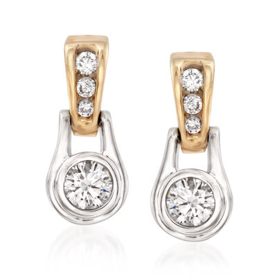 .60 ct. t.w. Diamond Drop Earrings in 14kt Two-Tone Gold, , default