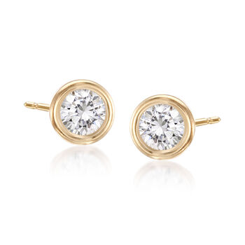 1.60 ct. t.w. Bezel-Set CZ: Three Pairs of Stud Earrings in 14kt Yellow Gold, , default