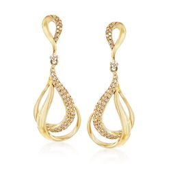 .46 ct. t.w. Diamond Teardrop Earrings in 14kt Yellow Gold, , default