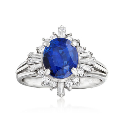 C. 2000 Vintage 2.36 Carat Certified Sapphire and .46 ct. t.w. Diamond Ring in Platinum, , default