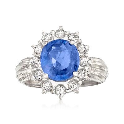 C. 1970 Vintage 2.51 Carat Sapphire and .56 ct. t.w. Diamond Ring in Platinum