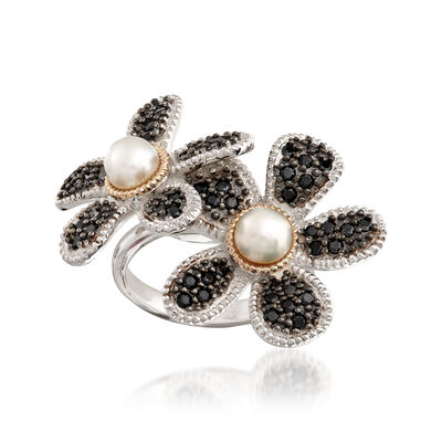 5-5.5mm Cultured Button Pearl and 1.10 ct. t.w. Black Spinel Flower Ring with 14kt Gold in Sterling Silver, , default