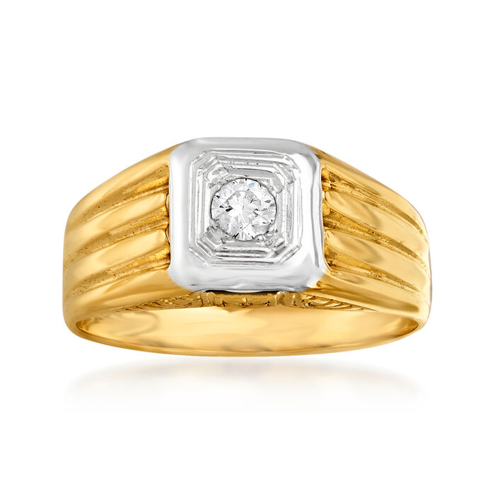 C. 1950 Vintage .10 Carat Diamond Ring in 14kt Two-Tone Gold. Size 5, , default