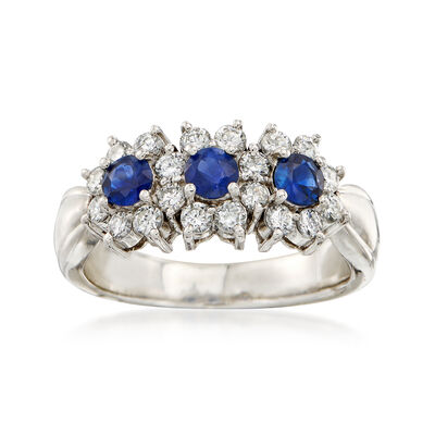 C. 1980 Vintage .50 ct. t.w. Sapphire and .51 ct. t.w. Diamond Ring in Platinum, , default