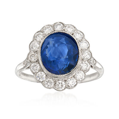 3.20 Carat Sapphire and .70 ct. t.w. Diamond Ring in 18kt White Gold