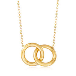 "Italian 14kt Yellow Gold Interlocking Open Circles Necklace. 18"", , default"