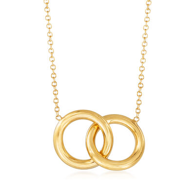 Italian 14kt Yellow Gold Interlocking Open Circles Necklace, , default