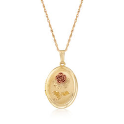 3d Rose Locket Pendant Necklace in 14kt Yellow Gold, , default