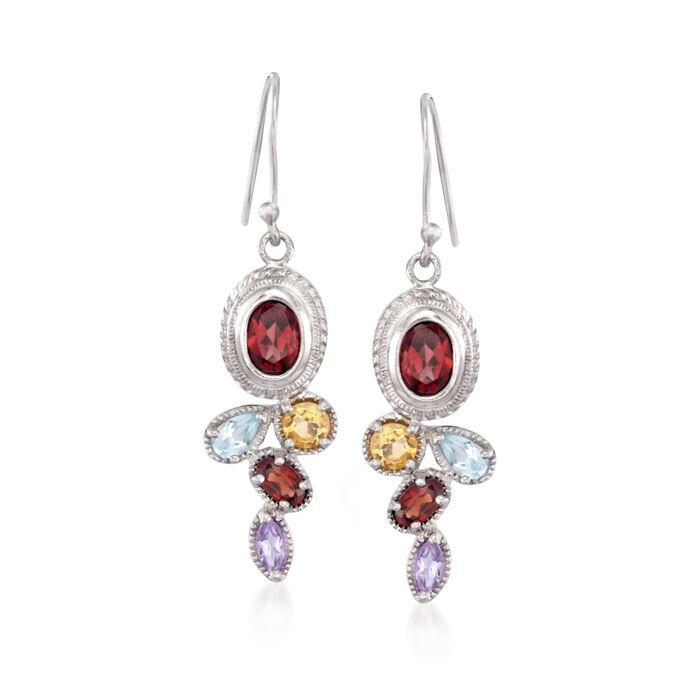 3.50 ct. t.w. Multi-Stone Drop Earrings in Sterling Silver, , default