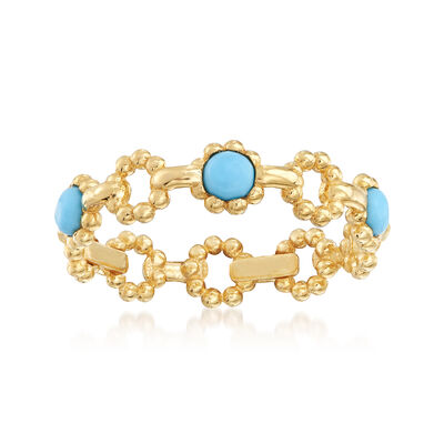 Italian Simulated Turquoise Ring in 14kt Yellow Gold, , default