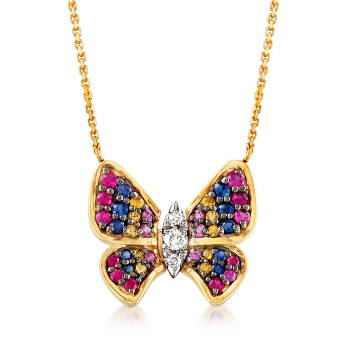 2.80 ct. t.w. Multicolored Sapphire and .11 ct. t.w. Diamond Butterfly Necklace in 14kt Yellow Gold