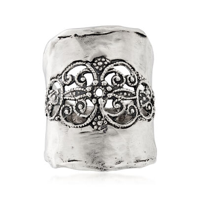 Oxidized Sterling Silver Open-Space Filigree Ring, , default