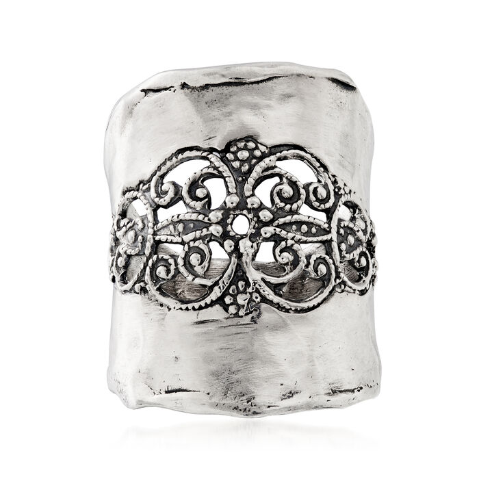 Oxidized Sterling Silver Open-Space Filigree Ring. Size 5, , default