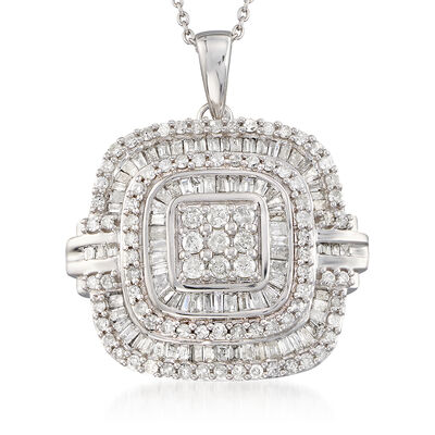 1.50 ct. t.w. Round and Baguette Diamond Cushion-Shape Necklace in Sterling Silver, , default