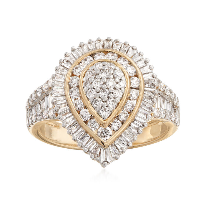 1.00 ct. t.w. Baguette and Round Diamond Ring in 14kt Yellow Gold, , default