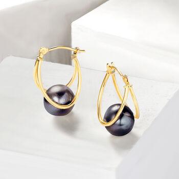 "8-9mm Black Cultured Pearl Double-Hoop Earrings in 14kt Gold. 3/4"", , default"