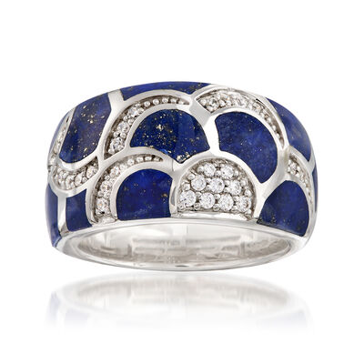"Belle Etoile ""Adina"" Lapis and .29 ct. t.w. CZ Ring in Sterling Silver, , default"