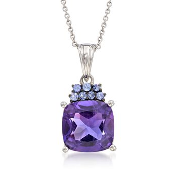 """5.25 Carat Amethyst and .20 ct. t.w. Tanzanite Pendant Necklace in Sterling Silver. 18"""", , default"""