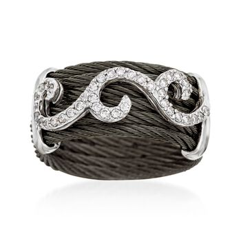 "ALOR ""Noir"" .32 ct. t.w. Diamond Black Cable Ring With 18kt White Gold. Size 7, , default"