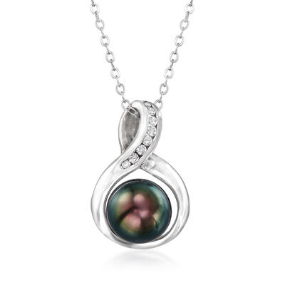 C. 1990 Vintage 9mm Black Cultured Pearl and .12 ct. t.w. Diamond Pendant Necklace in 14kt White Gold, , default