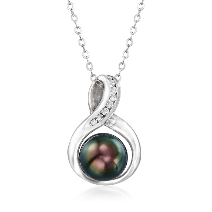 "C. 1990 Vintage 9mm Black Cultured Pearl and .12 ct. t.w. Diamond Pendant Necklace in 14kt White Gold. 18"", , default"