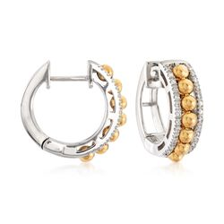 ".16 ct. t.w. Diamond Beaded Hoop Earrings in 14kt Two-Tone Gold . 1/2"", , default"