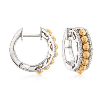 """.16 ct. t.w. Diamond Beaded Hoop Earrings in 14kt Two-Tone Gold . 1/2"""", , default"""