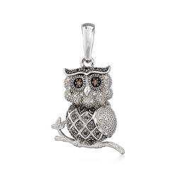.15 ct. t.w. Multicolored Diamond Owl Pendant in Sterling Silver , , default