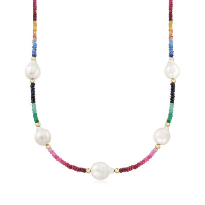 12-14mm Cultured Baroque Pearl and 30.50 ct. t.w. Multi-Gemstone Necklace, , default