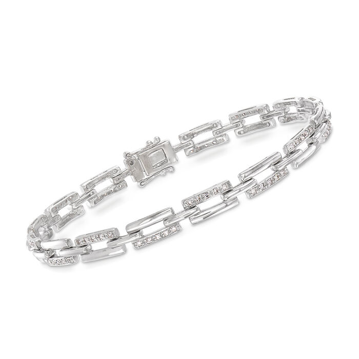 "C. 1970 Vintage .75 ct. t.w. Diamond Link Bracelet in 18kt White Gold. 7"""
