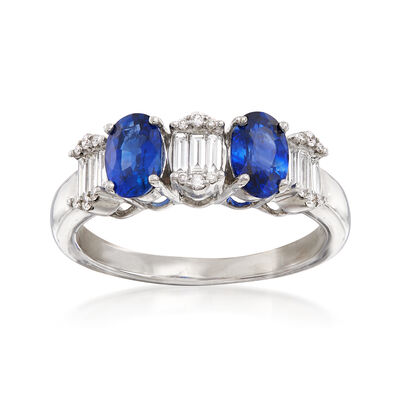 1.20 ct. t.w. Sapphire and .29 ct. t.w. Diamond Ring in 18kt White Gold, , default