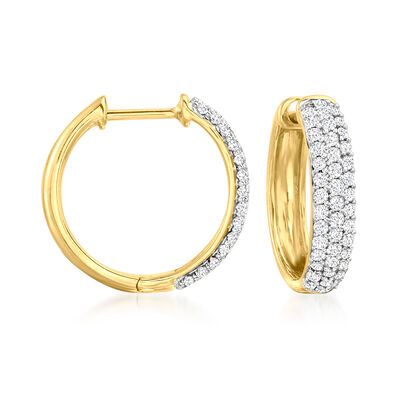 .50 ct. t.w. Pave Diamond Hoop Earrings in 18kt Gold Over Sterling