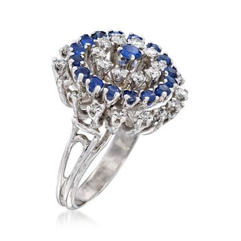 C. 1970 Vintage 1.30 ct. t.w. Diamond and 1.15 ct. t.w. Sapphire Cluster Ring in 14kt White Gold. Size 7, , default