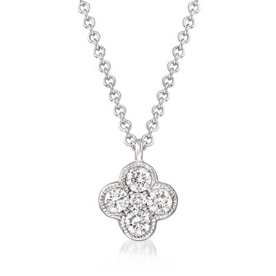 Gabriel Designs .25 ct. t.w. Diamond Cluster Pendant Necklace in 14kt White Gold